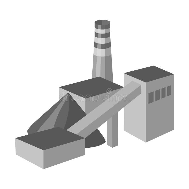 La planta con el tubo Fábrica en el proceso de minerales de la mina Icono de la industria de la mina solo en estilo monocromático stock de ilustración