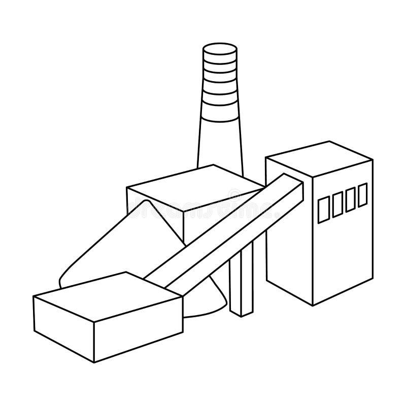 La planta con el tubo Fábrica en el proceso de minerales de la mina Icono de la industria de la mina solo en estilo del esquema libre illustration