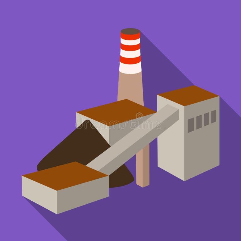 La planta con el tubo Fábrica en el proceso de minerales de la mina Mine el solo icono de la industria en vector plano del estilo stock de ilustración