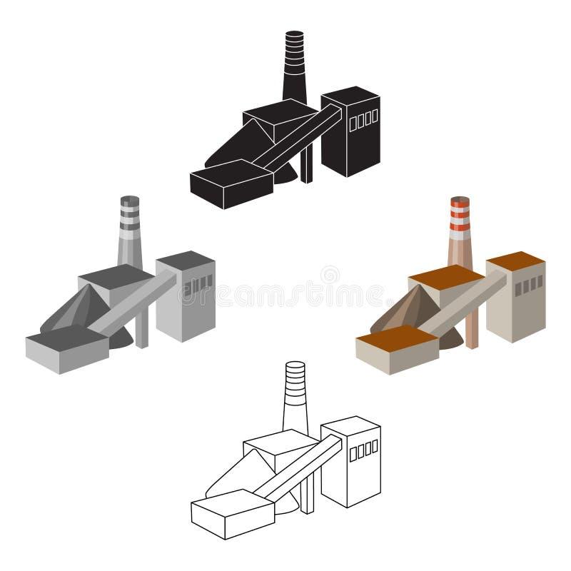 La planta con el tubo F?brica en el proceso de minerales de la mina Icono de la industria de la mina solo en la historieta, estil stock de ilustración