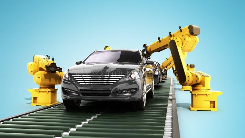 La planta de fabricación del robot en la fábrica 3d del coche rinde en azul ilustración del vector