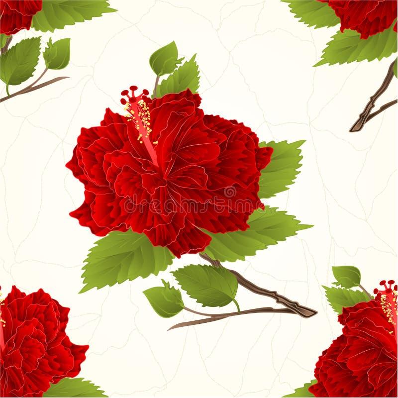 La planta inconsútil de la textura acanaló vecto tropical del vintage de las grietas de la flor del hibisco rojo libre illustration