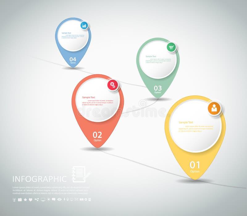 La plantilla abstracta 4 camina para el negocio concepy, disposición del flujo de trabajo libre illustration