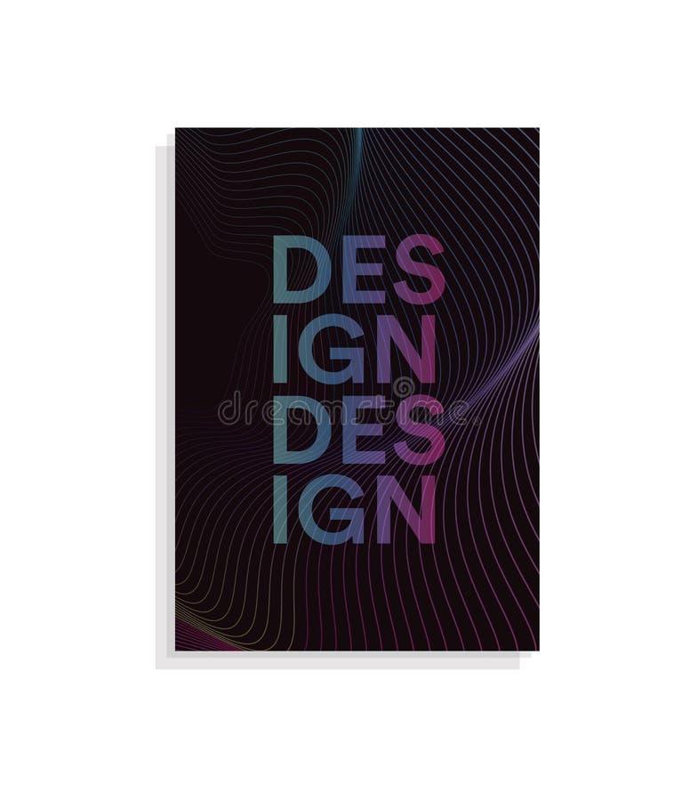 La plantilla abstracta del diseño de la cubierta del folleto con las líneas onduladas diseña en el fondo oscuro, ejemplo del vect stock de ilustración