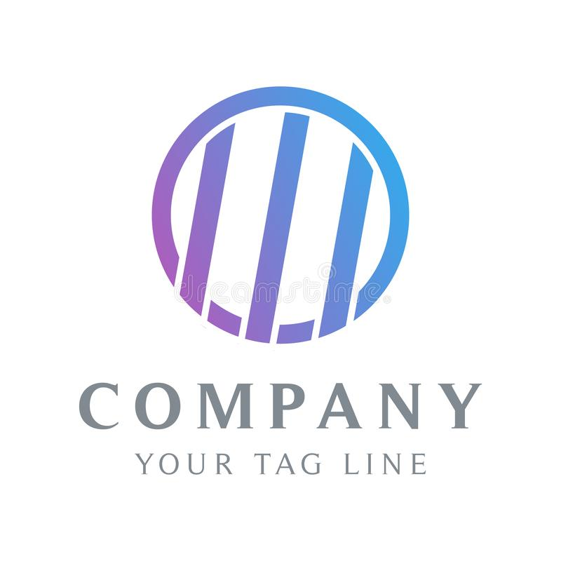 La plantilla abstracta del logotipo en un círculo y allí es 3 líneas en ella stock de ilustración