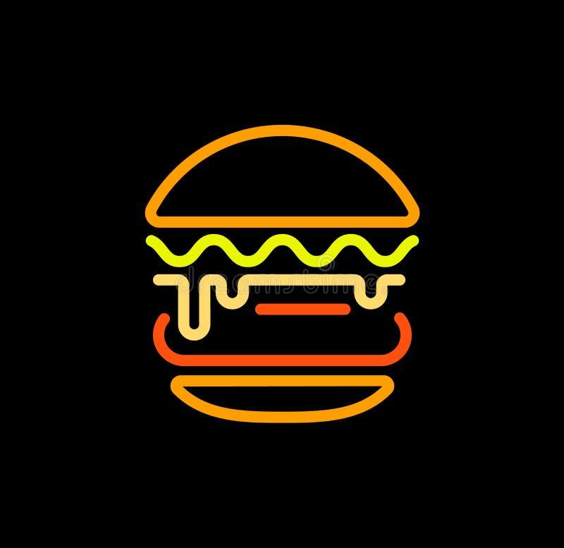 La plantilla abstracta del logotipo del vector del esquema de la hamburguesa, los alimentos de preparación rápida aisló la línea  ilustración del vector
