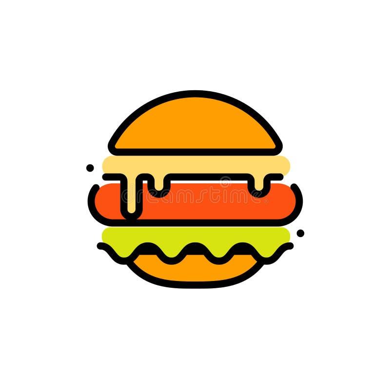 La plantilla abstracta del logotipo del vector del esquema de la hamburguesa, los alimentos de preparación rápida aisló la línea  libre illustration