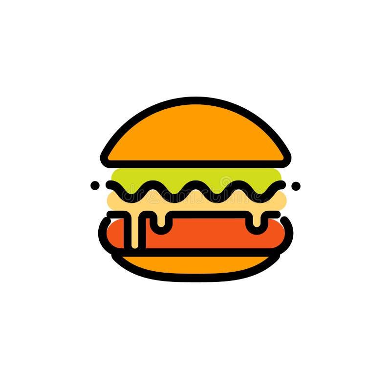 La plantilla abstracta del logotipo del vector del esquema de la hamburguesa, los alimentos de preparación rápida aisló la línea  stock de ilustración