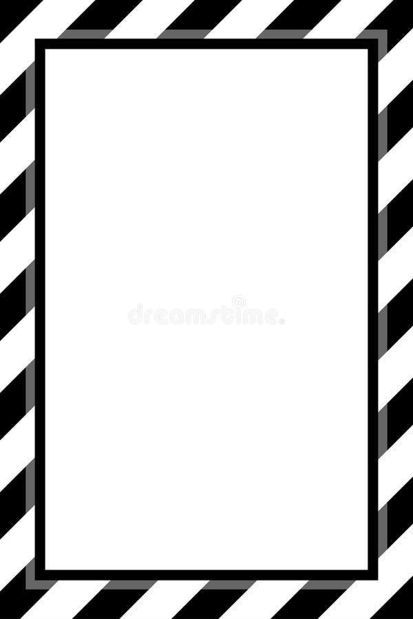 La plantilla blanco y negro de moda del marco de la raya para el espacio de la copia del fondo, marco de la bandera rayó el toldo ilustración del vector