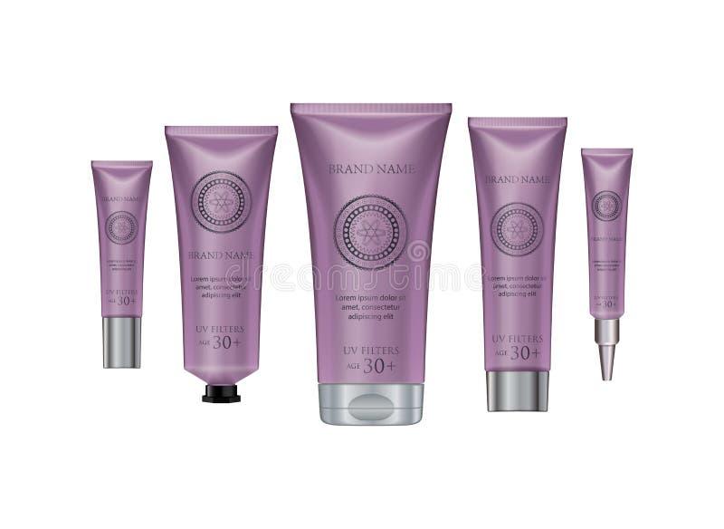 La plantilla cosmética de lujo de la publicidad del diseño de producto para los anuncios apoya libre illustration