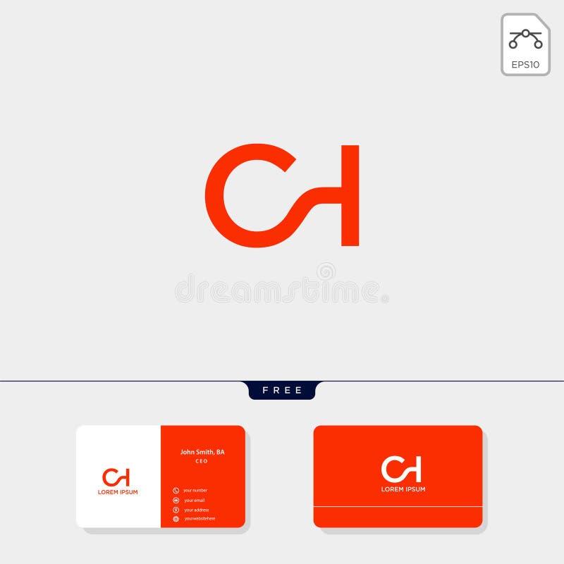 La plantilla creativa de la plantilla del logotipo inicial superior del CH, de HC, de C, o de H y del diseño de la tarjeta de vis ilustración del vector