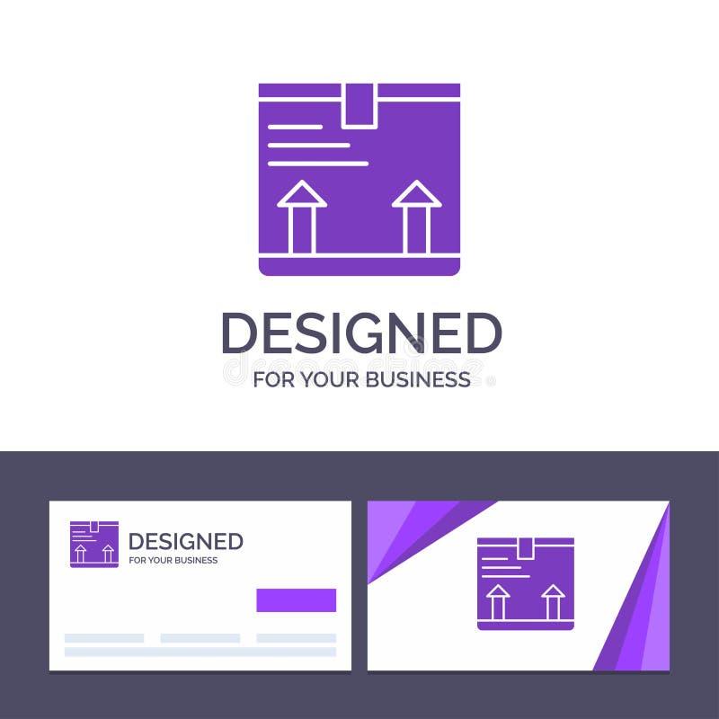 La plantilla creativa de la tarjeta y del logotipo de visita entrega, encajona, flecha, encima del ejemplo del vector ilustración del vector