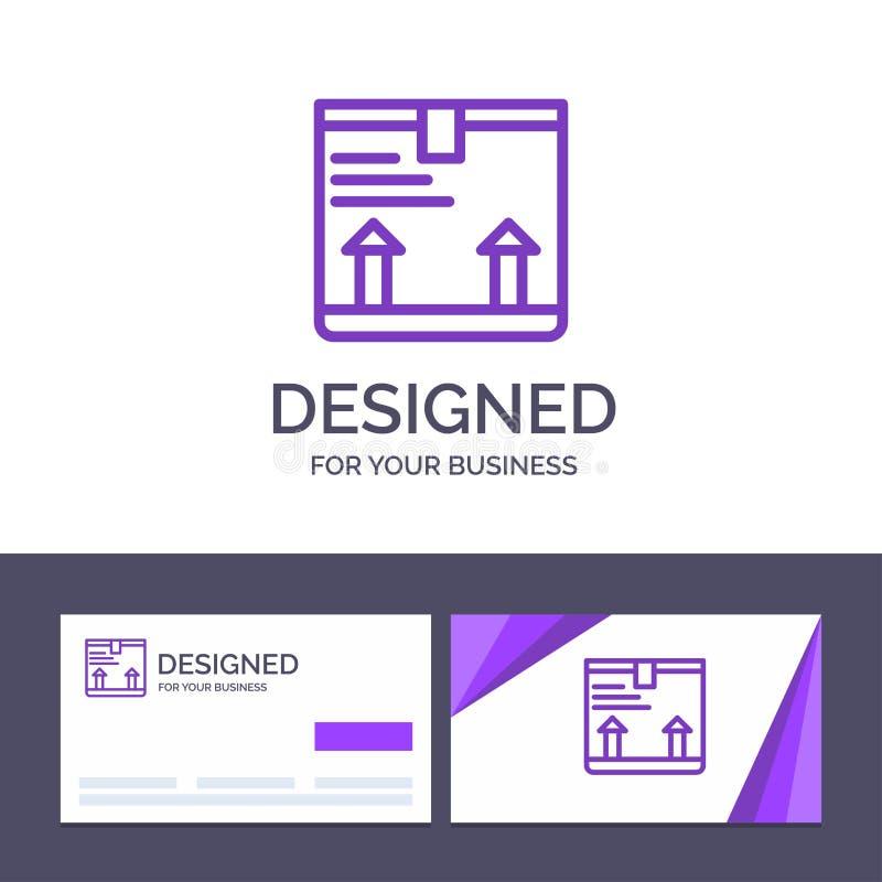 La plantilla creativa de la tarjeta y del logotipo de visita entrega, encajona, flecha, encima del ejemplo del vector libre illustration