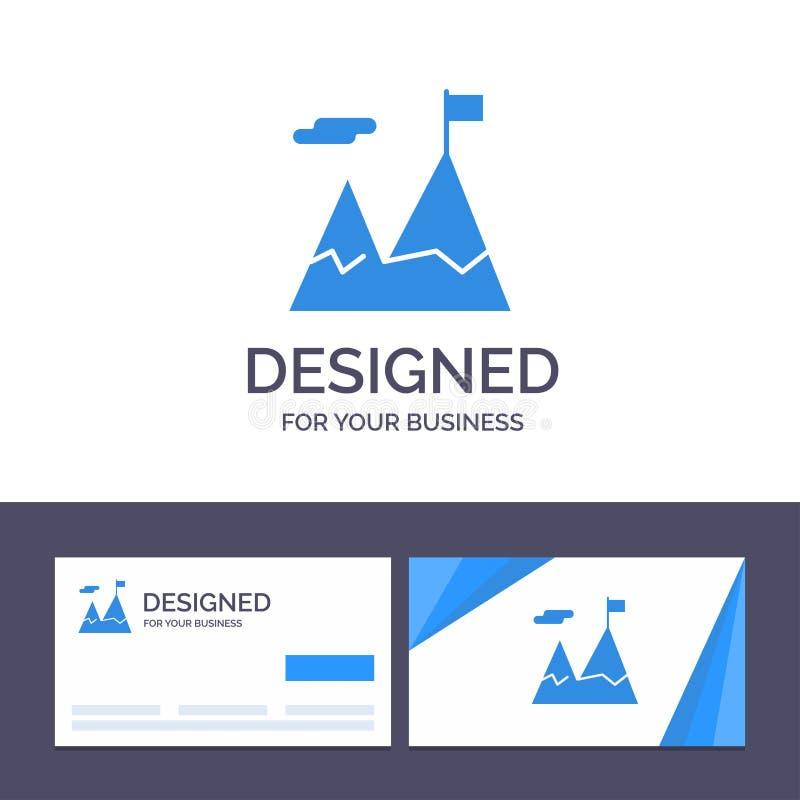La plantilla creativa de la tarjeta y del logotipo de visita logró, negocio, misión, ejemplo del vector de la motivación stock de ilustración