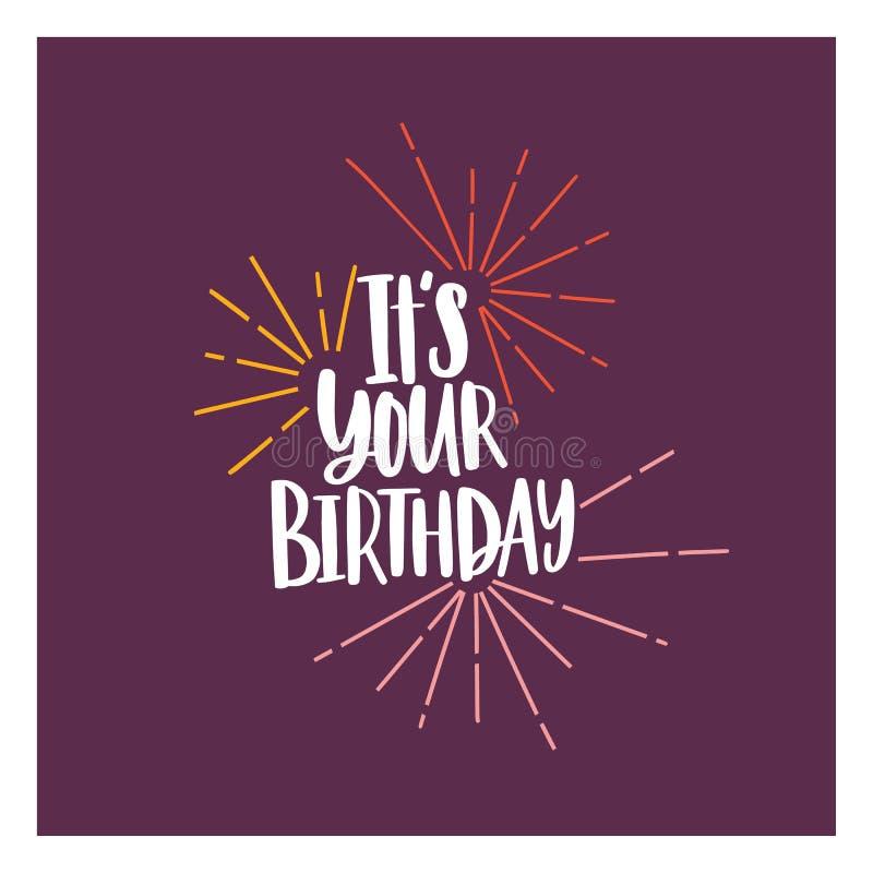 La plantilla cuadrada de la invitación de la tarjeta o del partido con ella es su frase del cumpleaños manuscrita con la fuente c ilustración del vector