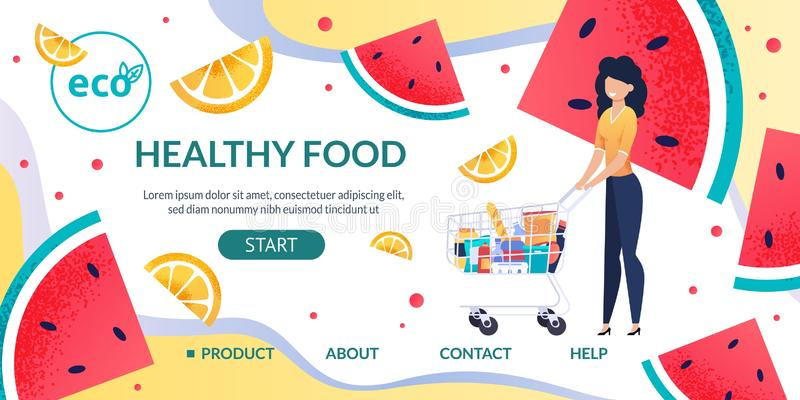 La plantilla de aterrizaje de la página con la mujer compra comida sana ilustración del vector