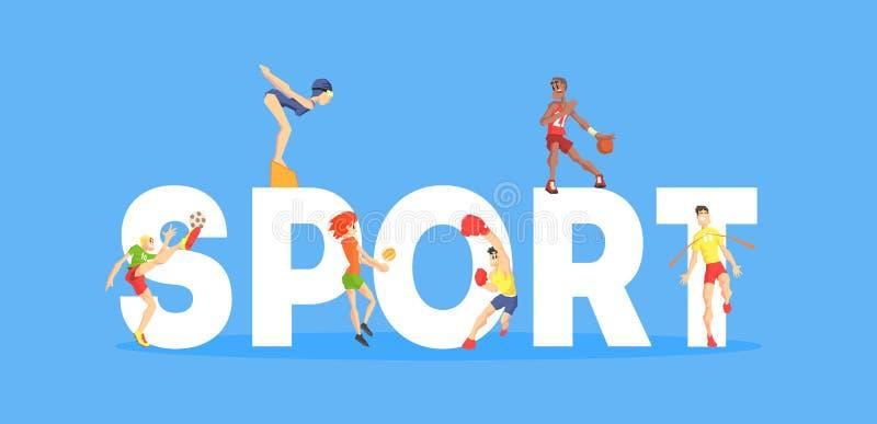La plantilla de la bandera del deporte, gente de la gente que hace diferentes tipos de deportes, elemento del diseño se puede uti ilustración del vector
