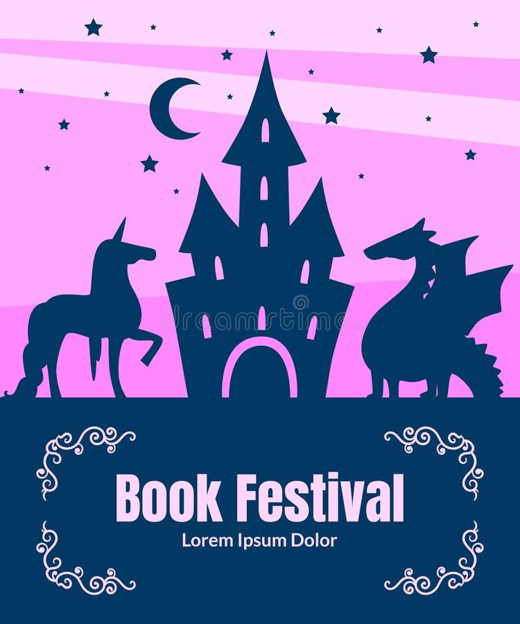 La plantilla de la bandera del festival del libro, la silueta del castillo mágico del cuento de hadas, el dragón y el unicornio e libre illustration