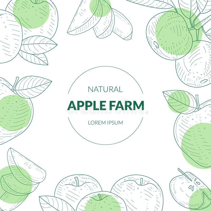 La plantilla de la bandera de la granja de Apple con las frutas frescas naturales orgánicas da el ejemplo exhausto del vector libre illustration