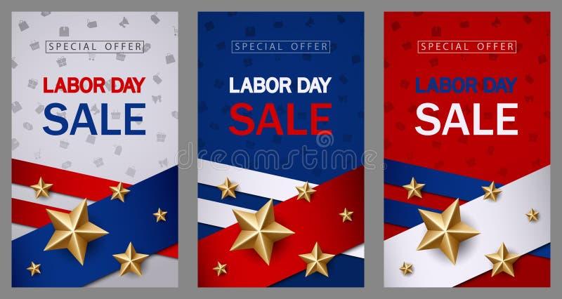 La plantilla de la bandera de la venta del Día del Trabajo con la bandera americana y la estrella de oro diseñan stock de ilustración