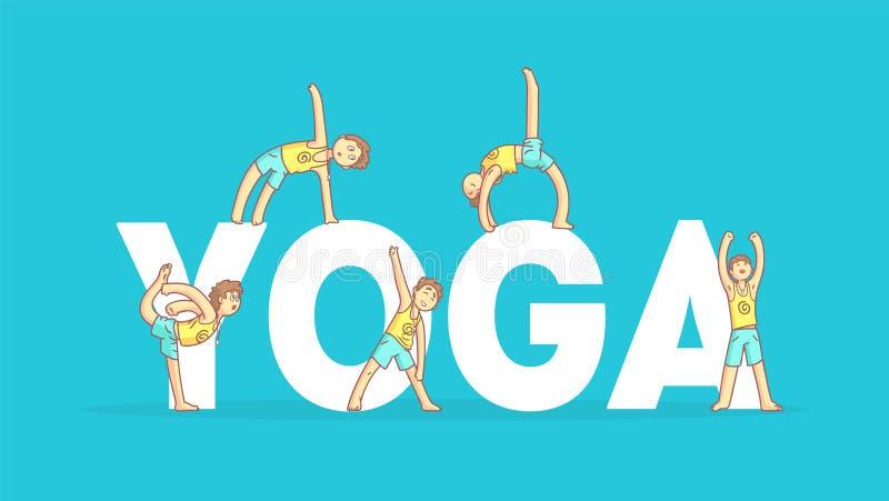 La plantilla de la bandera de la yoga, muchacho que practica Asana presenta, clase de la yoga, ejemplo sano del vector de la form libre illustration