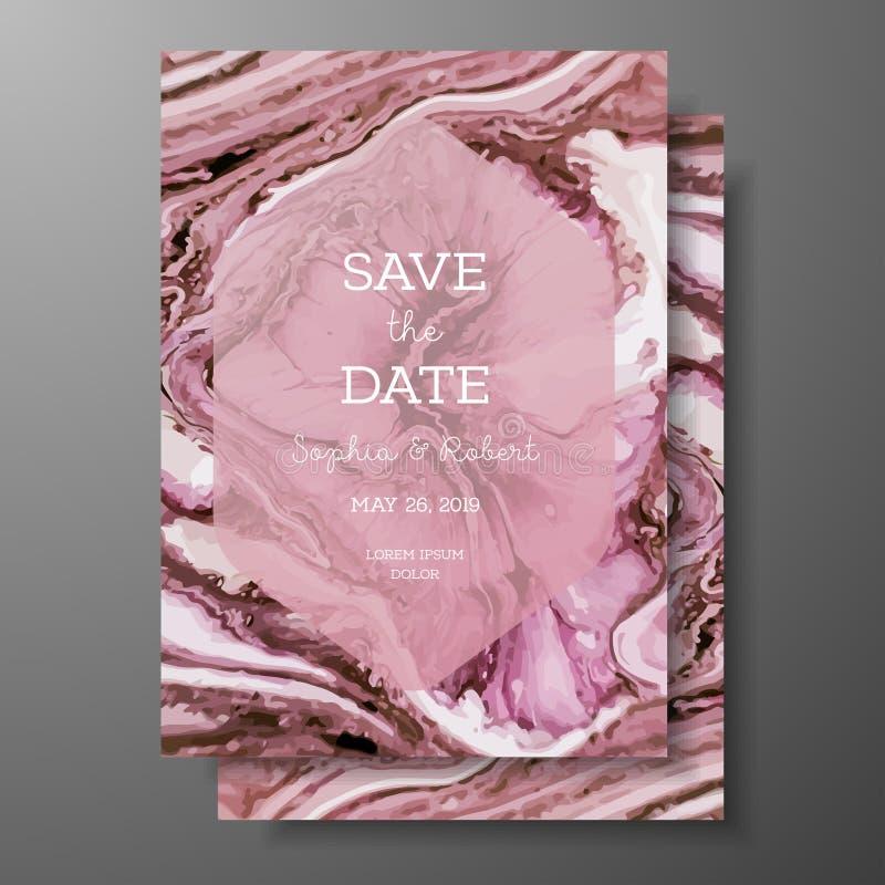 La plantilla de la boda con la textura de mármol líquida para casarse invita, ahorra a la tarjeta de fecha, tarjeta de felicitaci libre illustration