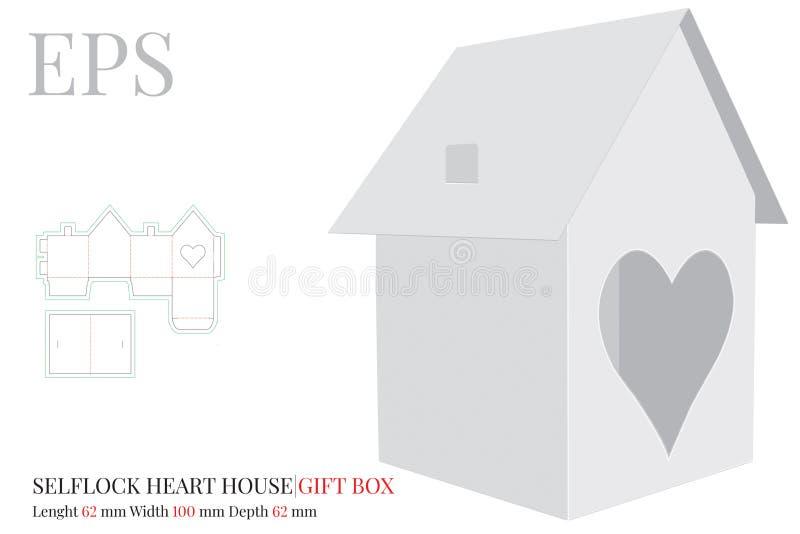 La plantilla de la casa, vector con cortado con tintas/el laser cortó capas Casa de papel con la puerta del corazón Blanco, claro stock de ilustración