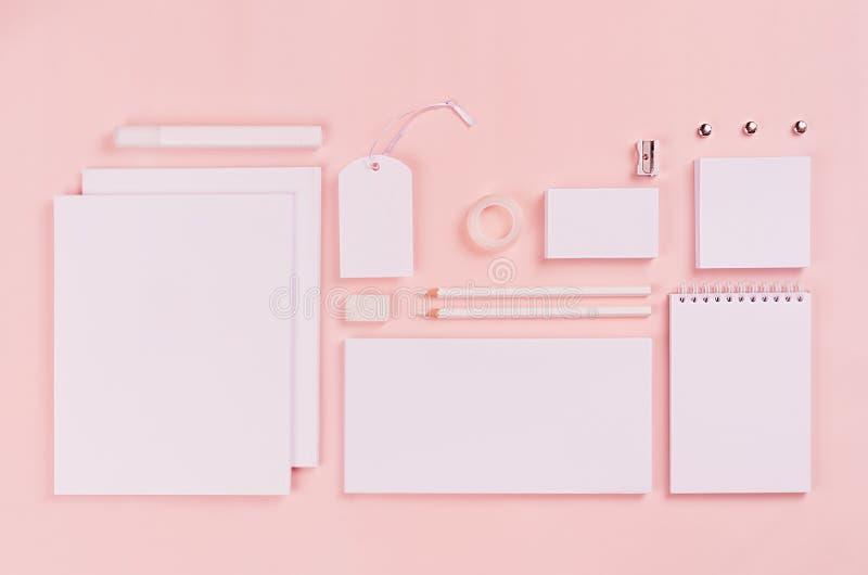 La plantilla de la identidad corporativa, los efectos de escritorio en blanco blancos fijó en fondo elegante del rosa en colores  imagen de archivo