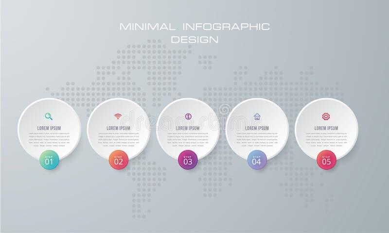 La plantilla de Infographic con 4 opciones, flujo de trabajo, la carta de proceso, vector del diseño del infographics de la crono libre illustration