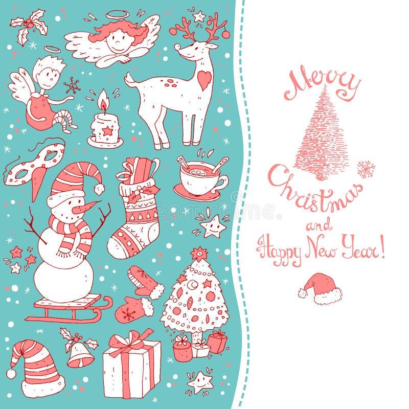 La plantilla de la tarjeta de felicitación de la Navidad, vector feliz Invierno libre illustration