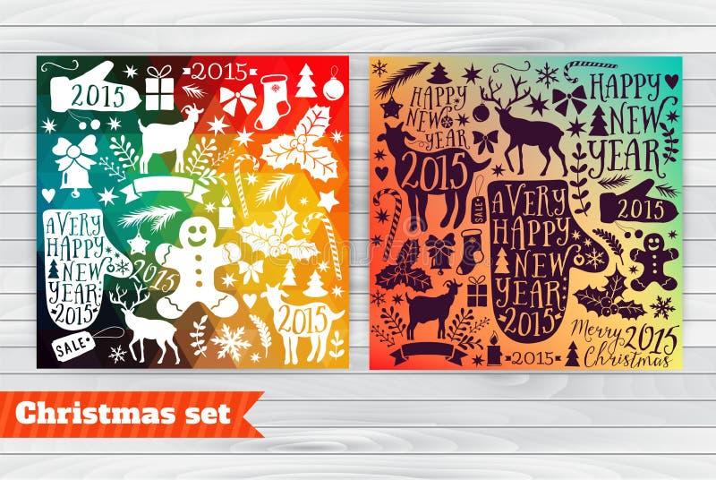 La plantilla de la tarjeta de felicitación de la Navidad, vector la colección de la Feliz Navidad, iconos del paquete del Año Nue ilustración del vector