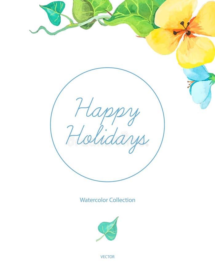 La plantilla de la tarjeta de felicitaciones con verano colorido de la acuarela florece stock de ilustración
