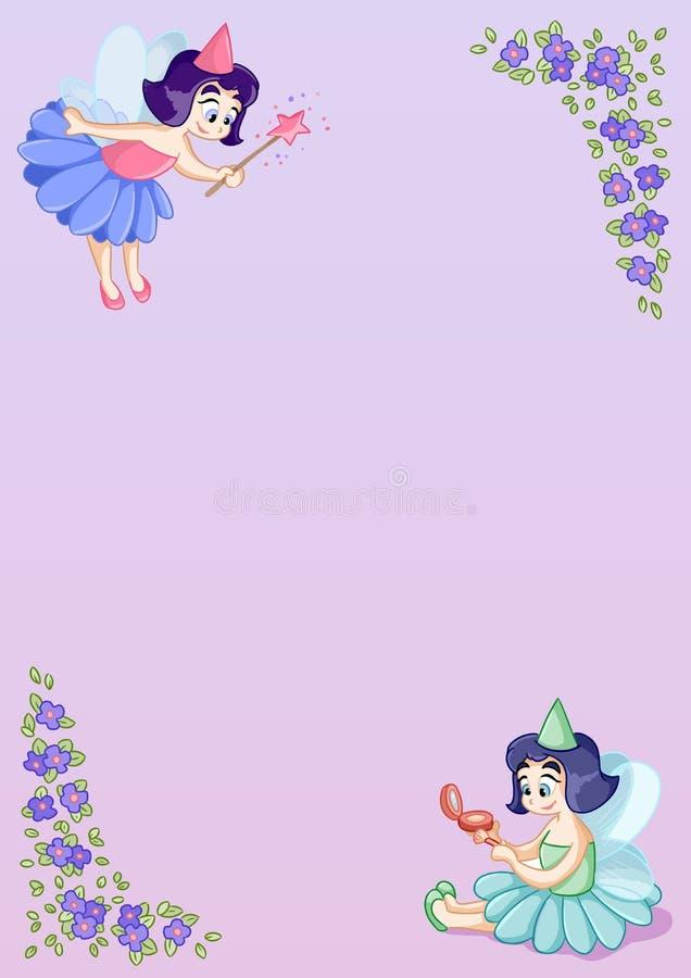 La plantilla de la letra A4 con las pequeñas princesas de hadas lindas y las flores de la viola adornan ilustración del vector