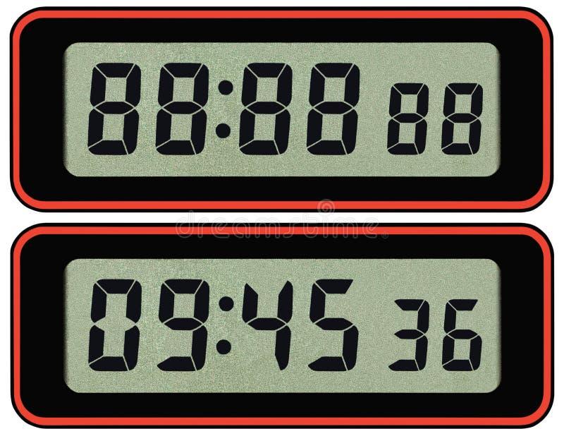 La plantilla de la tipografía del contador de tiempo del cronómetro de Digitaces lcd, aisló siete números árabes del negro del se foto de archivo