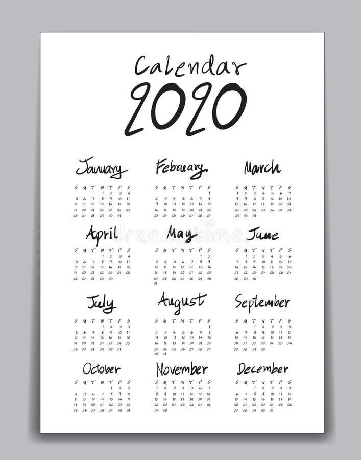 La plantilla 2020 del calendario, poniendo letras al calendario, mano dibujada poniendo letras al ejemplo del vector del calendar stock de ilustración