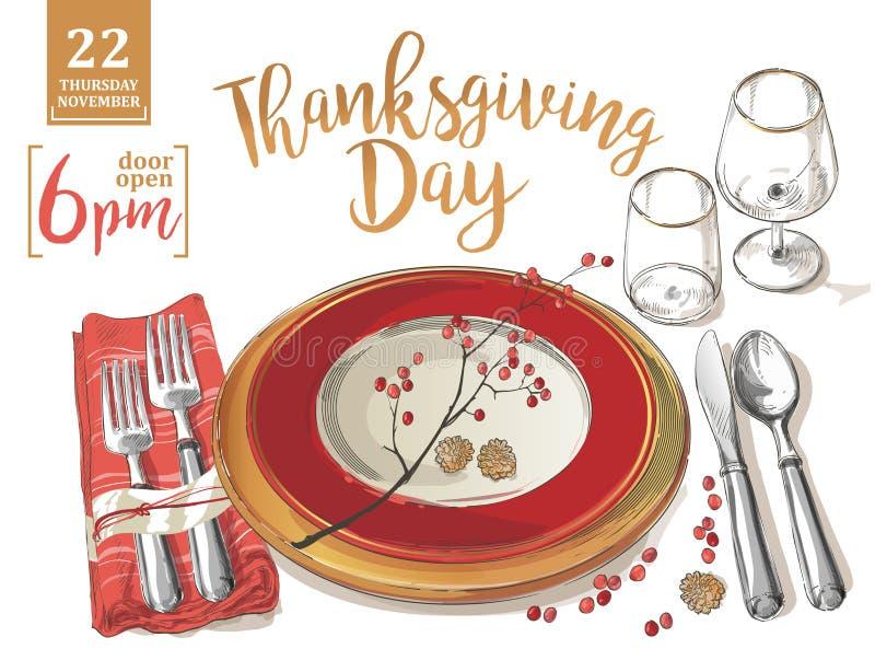 La plantilla del cartel de la acción de gracias bifurca, los cuchillos, cucharas, copa de vino vacía de la placa libre illustration