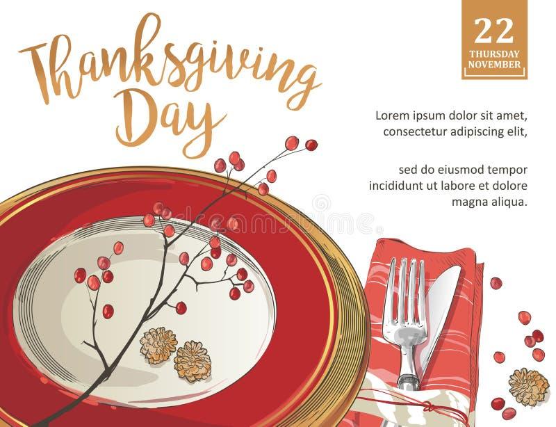 La plantilla del cartel de la acción de gracias bifurca, los cuchillos, cucharas, copa de vino vacía de la placa ilustración del vector