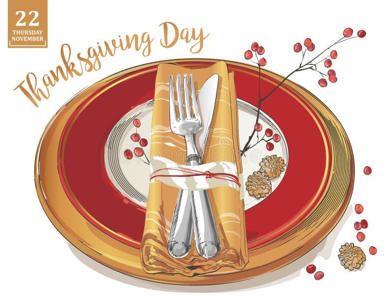 La plantilla del cartel de la acción de gracias bifurca, los cuchillos, cucharas, copa de vino vacía de la placa stock de ilustración