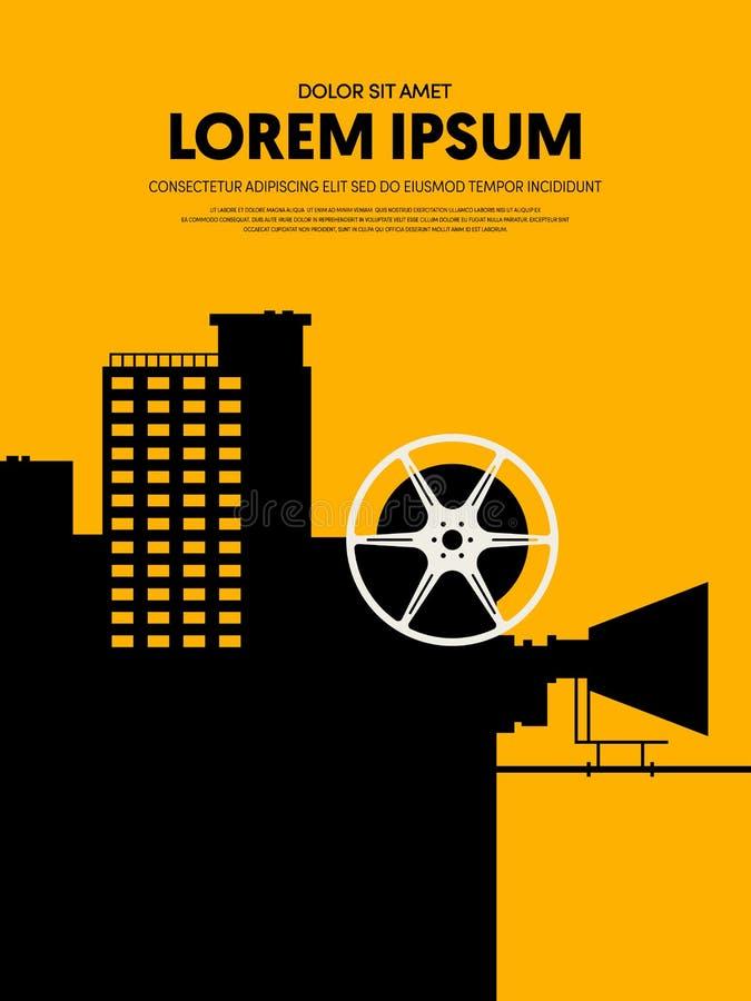 La plantilla del cartel de la película y de la película diseña estilo retro moderno del vintage libre illustration