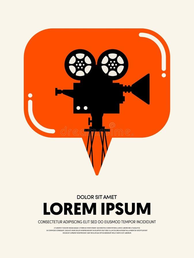 La plantilla del cartel de la película y del festival de cine diseña el vintage retro moderno ilustración del vector