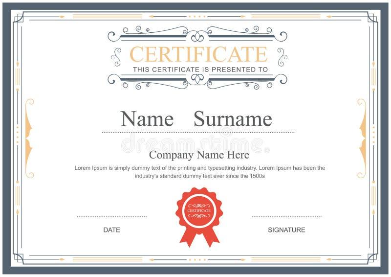 La plantilla del certificado prospera vector elegante libre illustration