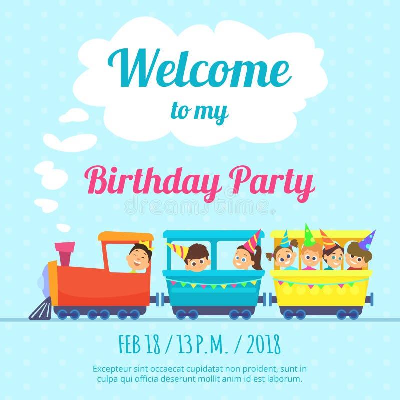La plantilla del diseño del cartel para los niños va de fiesta la invitación Ejemplo de los juguetes del tren stock de ilustración