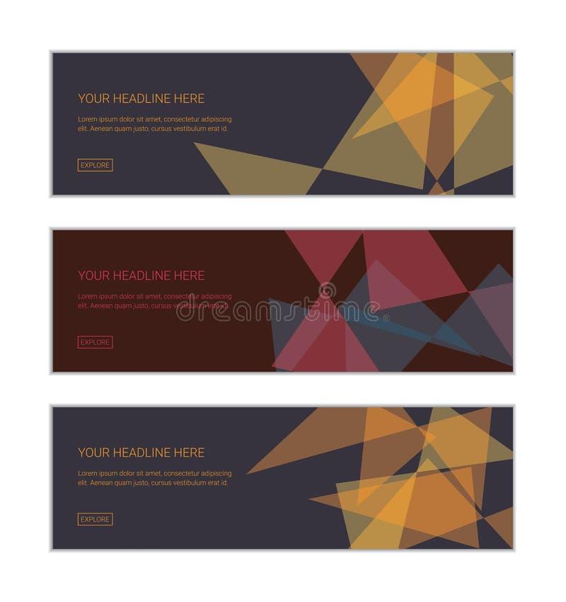 La plantilla del diseño de la bandera de la web fijó consistir en los fondos abstractos hechos con formas transparentes del trián ilustración del vector