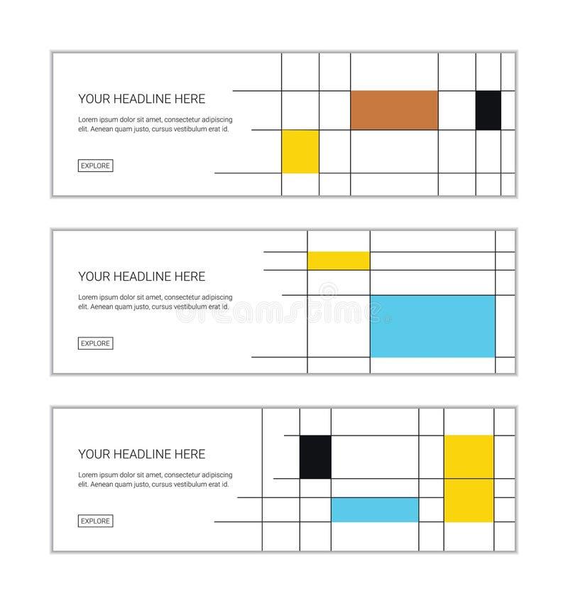 La plantilla del diseño de la bandera de la web fijó consistir en los modelos abstractos hechos con rectángulos libre illustration