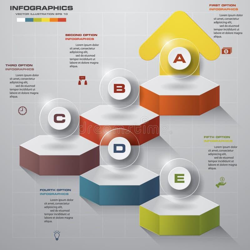 La plantilla del diseño de Infographic con 5 pasos estructura encima de flecha stock de ilustración