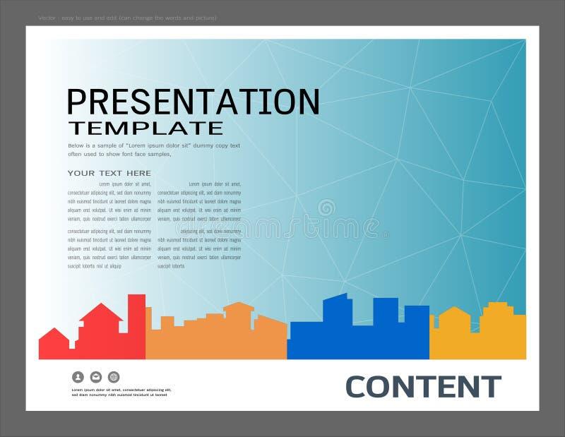 La plantilla del diseño de la presentación, los edificios de la ciudad y el concepto de las propiedades inmobiliarias, Vector el  libre illustration