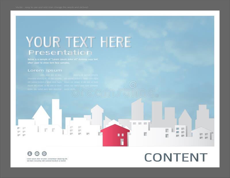La plantilla del diseño de la presentación, los edificios de la ciudad y el concepto de las propiedades inmobiliarias, Vector el  stock de ilustración