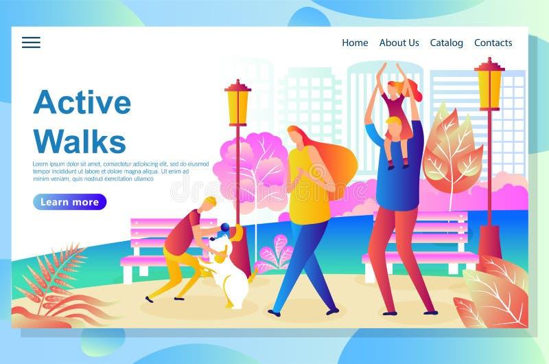 La plantilla del diseño de la página web muestra el paseo feliz de la familia en el parque, descansando y jugando con el perro ilustración del vector