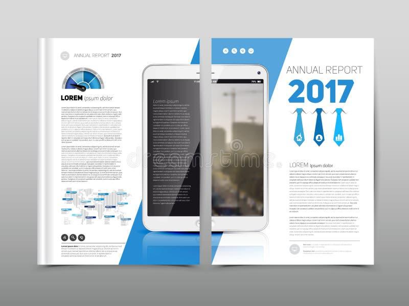 La plantilla del diseño del aviador del folleto del informe anual, azul coloreó vecto stock de ilustración