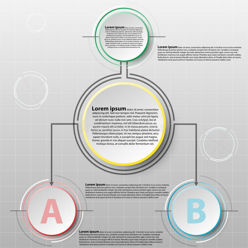 La plantilla del diseño del infographics del vector con el papel del círculo 3D separa 2 artículos para el diseño gráfico del con ilustración del vector